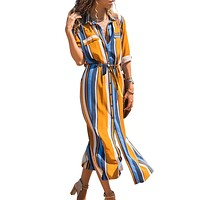 Orange Striped Roll up Sleeve Button Down Maxi Shirt Dress