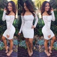 Lace sexy slinky dresses spring summer fashion casual full sleeve solid sheath dress plus size women = 5739326081