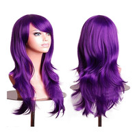"27.5"" 70cm Long Wavy Curly Cosplay Fashion Mermaid Fantasy Wig heat resistant   dark purple"