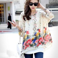 2016 New Bohemian Blouses Women Chiffon Tops Blusas Feminina Floral Print Batwing Sleeve Shirts Summer Casual Blouses Plus Size