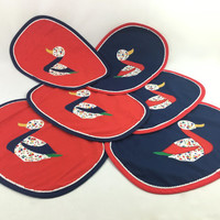 Colorful Fabric Patchwork Duck Placemats in Navy Blue & Red Reversible Floral Placemats Handmade Set of 6 Vintage Dutch Style Placemats