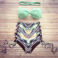 Newest Bow Bandeau Bikini Swimsuit Set