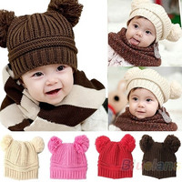 Fashion Baby Girls Boys Kids Dual Ball Knit Sweater, Sweaters Cap Winter Warm Hat Hot Sale = 1920405956