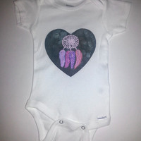 Hippie bohemian dream catcher baby Onesuit for 0-3 months, 6-9 months, 12 months, and 18 months