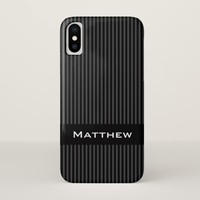 Modern, masculine gray and black stripes iPhone x case