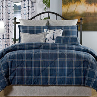 "Navy Plaid ""Marina Bay"" Bedding Set"
