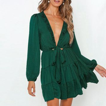 Sexy v-neck women dress Elegant long sleeve lace up ruffled mini dresses Party club office ladies short vestidos