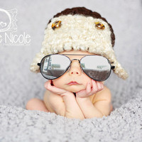 Baby Aviator Hat Pilot Newborn 0 3m 6m Brown Bomber Hat Crochet  Photo Prop Baby Clothes Boys Girls Gift CUTE year round