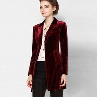 Chic European Style Long Velvet Blazer