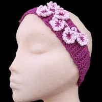 CLEARANCE SALE. Crocheted Hairband/Headband in Raspberry & Pink Flowers. Hair Accessories, Eco Friendly Bamboo.