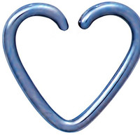 Fake Cartilage Earring: Titanium IP Plated Surgical Steel Blue Heart Shaped Clip-On Cartilage Hoop