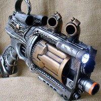 Steampunk Gun Nerf Maverick NStrike by oldjunkyardboutique on Etsy