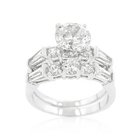 Odessa Round Baguette Engagement and Wedding Ring Set   4ct   Cubic Zirconia   Silver