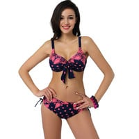 2015 Latest Plus Size Bikini Size Women Sexy Beach Low Waist Batching Fashion Girls Party Swimwear