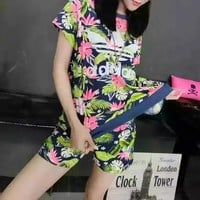 """Adidas"" Fashion Casual Camouflage Clover Letter Print Short Sleeve Shorts Sports Set Two-Piece"