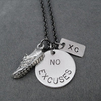 RUN No Excuses XC Necklace - Cross Country Running Necklace on Gunmetal chain - No Excuses Cross Country Running Necklace - XC Team Necklace