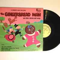 VALENTINES DAY SALE The Gingerbread Man And Other Stories And Songs Lp Album Disneyland Brave Little Tailor Kids Children 1969 Vinyl Record