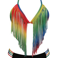 Rainbow Long Fringed Halter Bikini