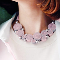 Pink & Grey Fabric Coil Necklace [DIY Kit OR Finished Item]