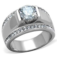 Mens Fashion Rings TK2054 Stainless Steel Ring with AAA Grade CZ