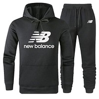 New Balance Trending Women Men Lover Top Sweater Pants Trousers Set Two-Piece Black