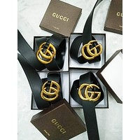 GUCCI Stylish Ladies Men Double G Smooth Metal Buckle Belt Black Leather Belt I
