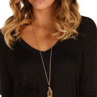 Gold Druzy Stone Necklace