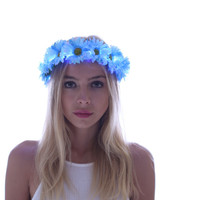 Blue-Premium Daisy LED Flower Crown,Floral Headband,Coachella,Rave Outfit,EDM Festival,Flower Halo,Halloween,Costume,EDC,Electric Forest
