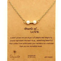 Dogeared Double Bone Pearls Of Love Drop 18K Gold Plated Shorts Chains Clavicle Fashion Necklace