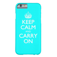 Aqua Turquoise And White Keep Calm And Carry On iPhone 6 Case