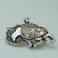 Very Old Japan Bullfighter Niello Brooch and Buffalo Earrings Vintage Jewelry