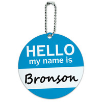Bronson Hello My Name Is Round ID Card Luggage Tag