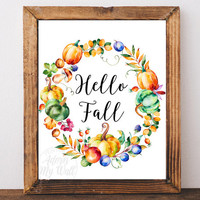 Hello fall, Fall decor, autumn decor, Home decor, Autumn print, Fall, Fall printable, Fall print, Autumn, hello fall print, Fall wall art