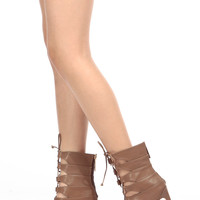 Cocoa Faux Leather Lace Up Single Sole Heels