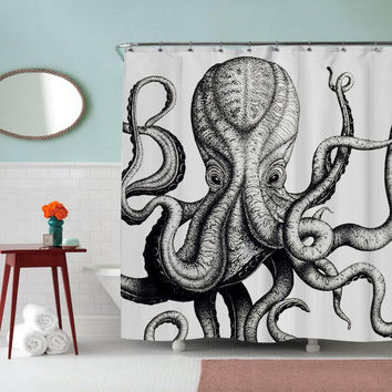 Octopus Inspired Shower Curtain