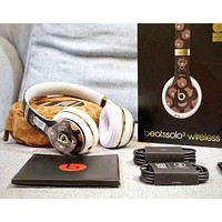 Beats Solo 3 Wireless Brown Bear Magic Sound Bluetooth Wireless Hands Headset MP3 Music Headphone with Microphone Line-in Socket TF Card Slot