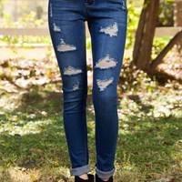 On The Way Distressed Skinny Jeans