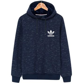 ADIDAS Clover winter new warm sports and leisure hooded pullover sweater Blue