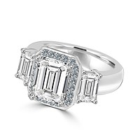 2 CT.(9x7mm) Intensely Radiant Brilliant Emerald Cut Diamond Veneer Cubic Zirconia with Two Side Baguettes (6x4mm) Vintage Style Sterling Silver Ring. 635R72227