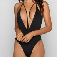 Hot Black Hollow Out Bikini One Piece Suit