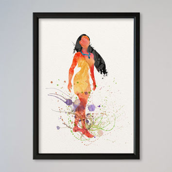 Pocahontas Princess Watercolor print Disney Pocahontas Watercolor Illustration poster Kids art Wall art Nursery Giclee Print Fine Art