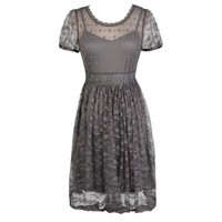 Lily Boutique Grey Embroidered Lace Dress, Grey A-Line Dress, Cute Grey Dress, Grey Summer Dress, Grey Party Dress, Grey Lace Dress, Sheer Grey Dress Lily Boutique