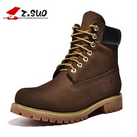 Classic Leather Boots Men Ankle Boots Casual New Spring Lace Up Army Working Boots Yellow Brown