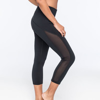 Full Tilt Sport Mesh Womens Capri Leggings Black  In Sizes