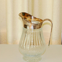 Vintage Glass Pitcher with Silver Plate Handle and Spout
