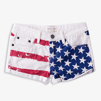 Cuffed American Flag Denim Shorts