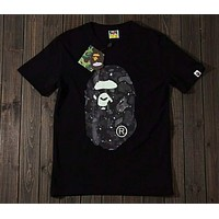 Bape Starry Camouflage Luminous Head High Quality Cotton Short Sleeve T-Shirt F-Great Me Store Black