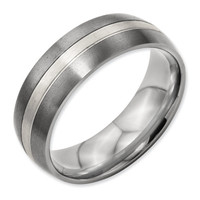 12 Men's Titanium Grooved Sterling Silver Inlay Brushed/Polished Wedding Band Ring Wedding-bands: 12