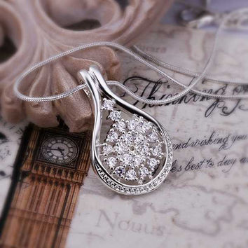 silver plated Chain Crystal Flower Bottle Necklaces Pendants Men jewelry 431 MP