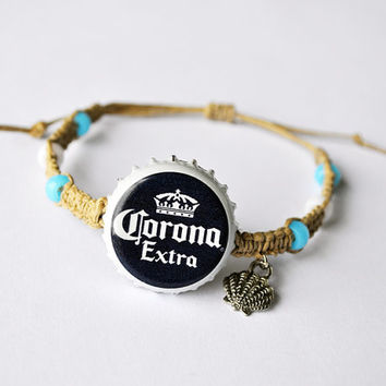 Beachy Corona Beer Recycled Beer Cap Hemp Bracelet with shell charm, recycled bottle cap jewelry, beer bottle cap, beach bracelet